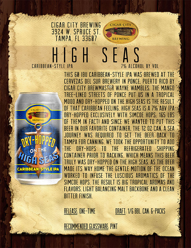 Cigar City Brewing's Hopped On The High Seas Caribbean Style IPA ...