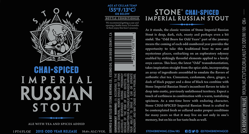 Stone 2015 Imperial Russian Stout CHAI SPICED
