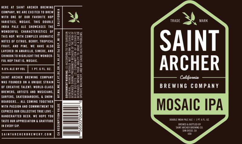 Saint Archer Brewing – Saint Archer Mosaic IPA – 22 oz. bottle ...