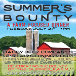 Bagby Beer Presents A Summer's Bounty: Farm-Focused Pairing Dinner