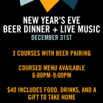 Ecliptic Brewing Hosts NYE Beer Paired Dinner & Live Music