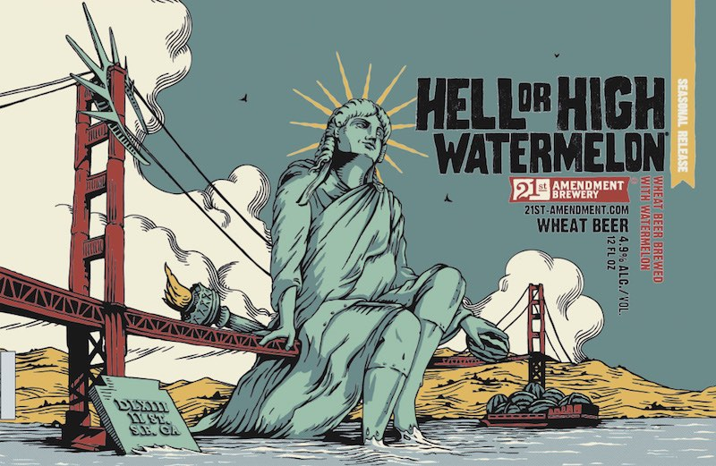 21st Amendment Hell or High Watermelon Can Label