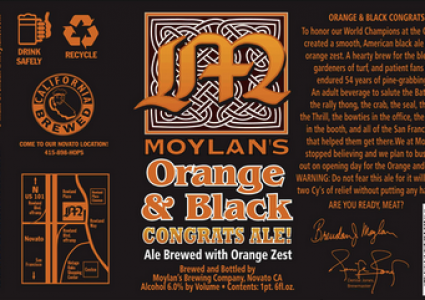Moylan's Orange & Black Congrats Ale