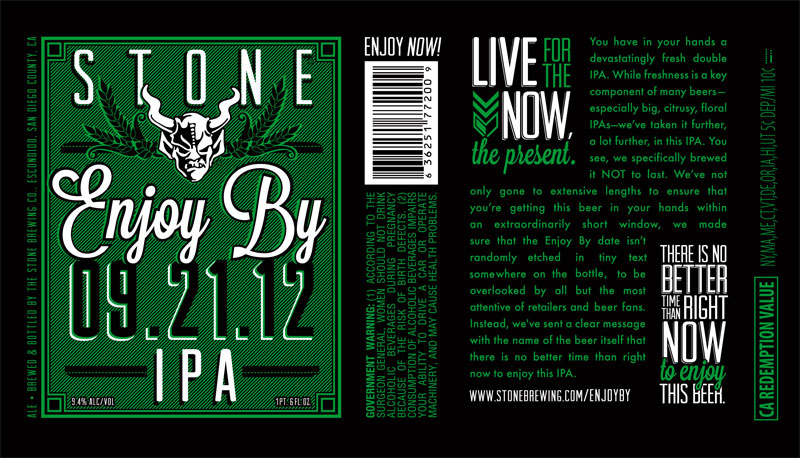 Stone Brewing - Enjoy By 09.21.12 IPA (label)