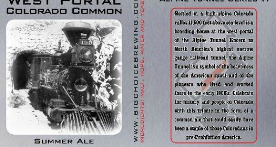 Big Choice West Portal Colorado Common Summer Ale