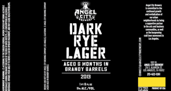 Angel City Dark Rye Lager Brandy Barrel