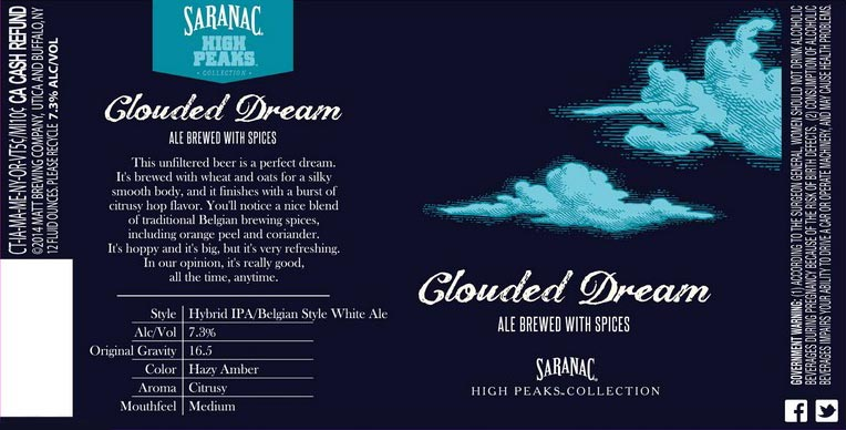 Saranac Clouded Dream White IPA