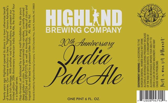 Highland 20th Anniversary IPA