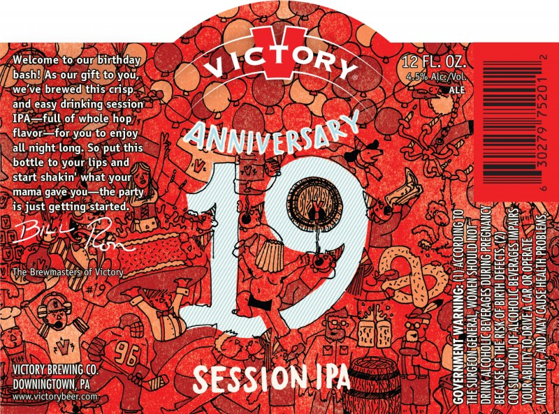 Victory Brewing 19th Anniversary Session IPA (label)