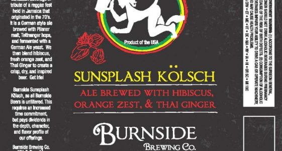 Burnside Brewing Sunsplash Kolsch label