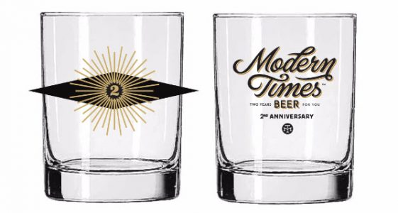 Modern Times Beer 2nd Anniversary Glass