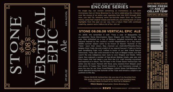 Stone 20th Anniversary Encore Series Stone 08.08.08 Vertical Epic Ale
