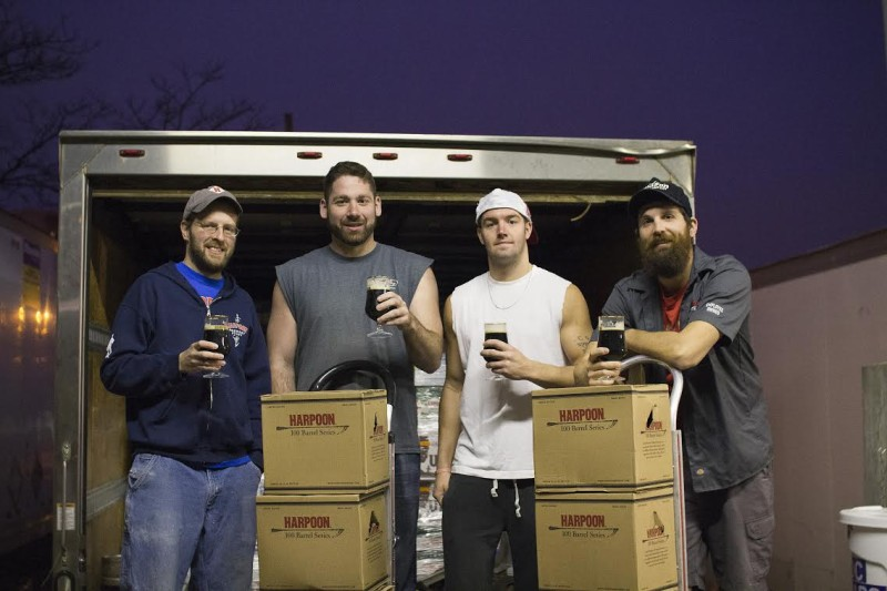 Harpoon Distributing Company drivers Mike Alessandro, Bill Davidson, and Nick Waitt, along with Harpoon brewer Ken Hermann