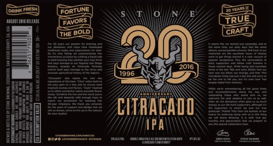 Stone 20th Anniversary Citracado IPA