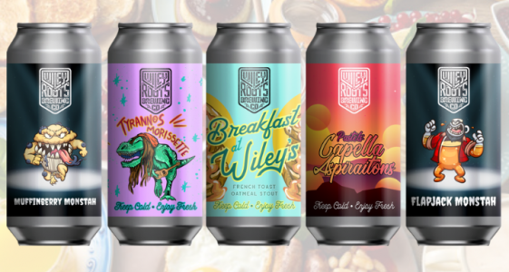 """GREELEY, CO - Wiley Roots Brewing Company announced today that the brewery is releasing five new breakfast inspired beers for the upcoming Valentine's Day weekend. Starting Friday, February 14, 2020 at 12pm, Wiley Roots will release Breakfast at Wiley's: French Toast, an Oatmeal Stout with Cinnamon, Vanilla, and Maple Syrup; Muffinberry Monstah, an Imperial Stout with Blueberry, Cinnamon, and Graham Cracker; Flapjack Monstah, an Imperial Stout with Maple Syrup and Graham Cracker; Pastels: Capella Aspirations, a Milkshake IPA with puréed Raspberry and Passion Fruit; and Tyrannos Morissette, a Sour IPA dry hopped with Simcoe and Citra. Each beer was inspired by common breakfast items, like a plate of French toast, a blueberry muffin, some pancakes dripping with maple syrup, a fruit milkshake, and a refreshing mimosa. In addition to experimenting with breakfast flavors, the brewery is encouraging people to blend Muffinberry Monstah and Flapjack Monstah together, creating blueberry pancakes. Kyle Carbaugh, co-owner and head brewer, said that staff at brewery enjoys making their own blends, so he wanted to create beers that compliment each other and encourage blending. This is not the first time Wiley Roots has suggested blending their beers together. In October, the brewery released Mallow Monstah and Cooky Monstah, which blended together created Double Stuffed Monstah. """"When we're creating these beers, we're always thinking about what we would like to drink and how to make the experience more fun. Releasing five breakfast inspired beers comes from our love of breakfast foods and restaurants around Greeley, Colorado. When we start talking about blending, that's from our staff enjoying different beers together, which creates an entirely new experience. We like challenging ourselves to do something unique at Wiley Roots, which means constantly thinking outside set parameters."""" said Kyle Carbaugh, co-owner and head brewer. Over the past seven years, Wiley Roots has earned """