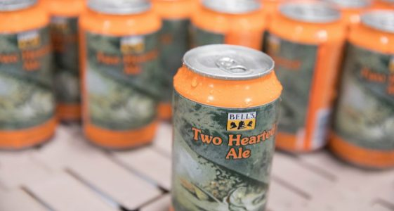 Two Hearted 12 oz cans on the line