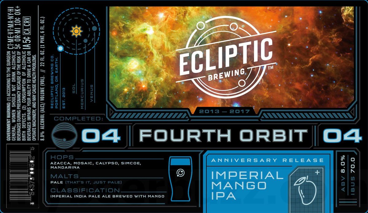 Ecliptic Brewing Celebrates 4th Anniversary with Fourth Orbit Imperial Mango IPA