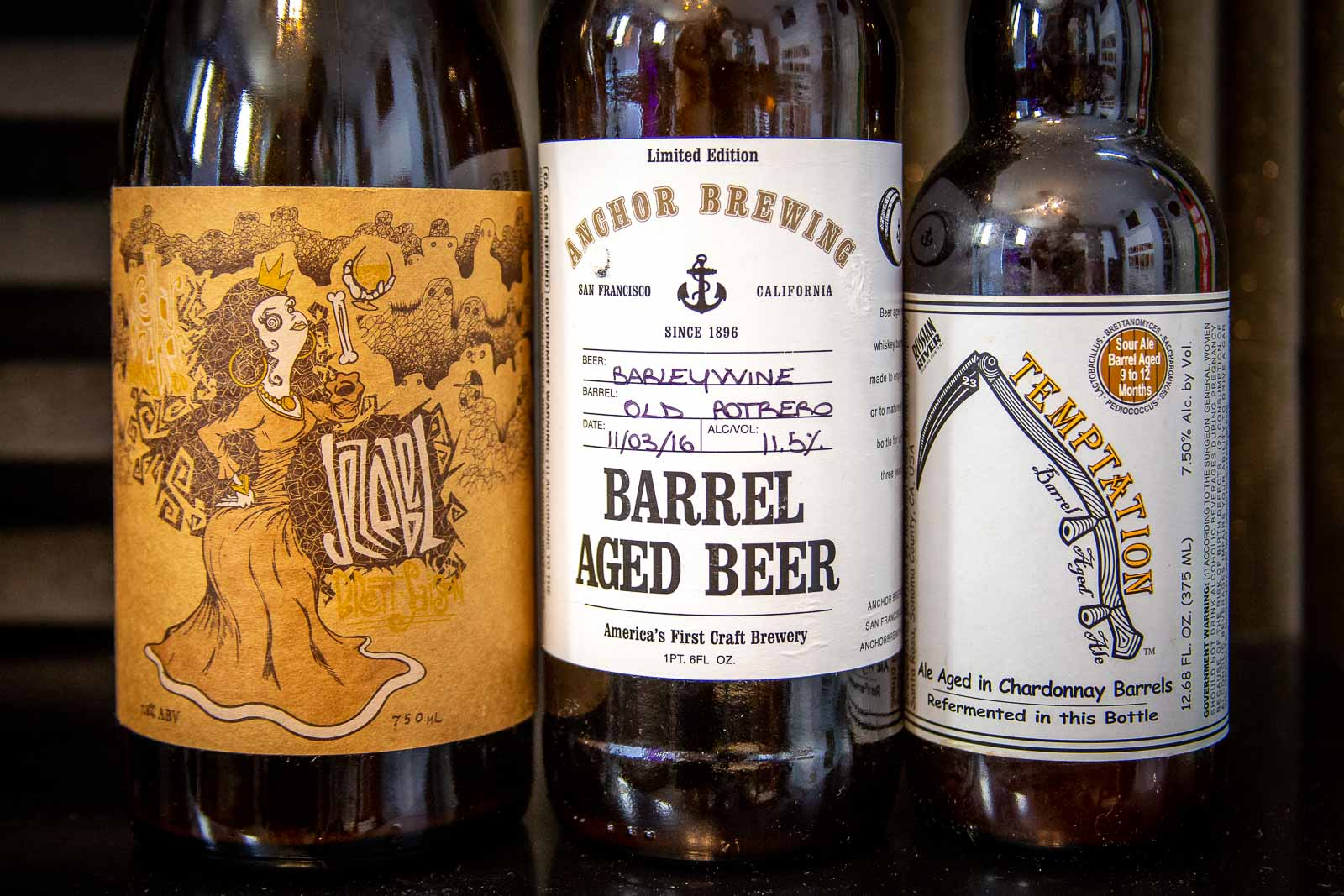 Pictured: Beers from Cellarmaker Brewing, Anchor Brewing, and Russian River Brewing.
