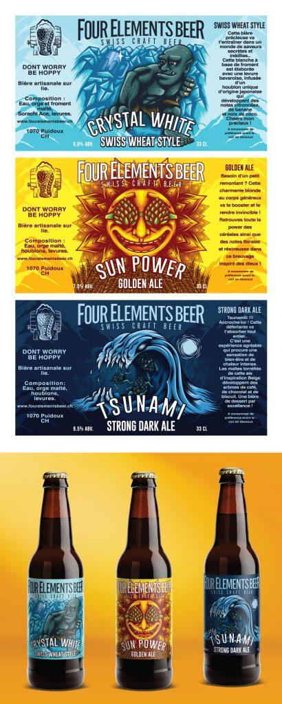 Striking beer labels for brown bottles