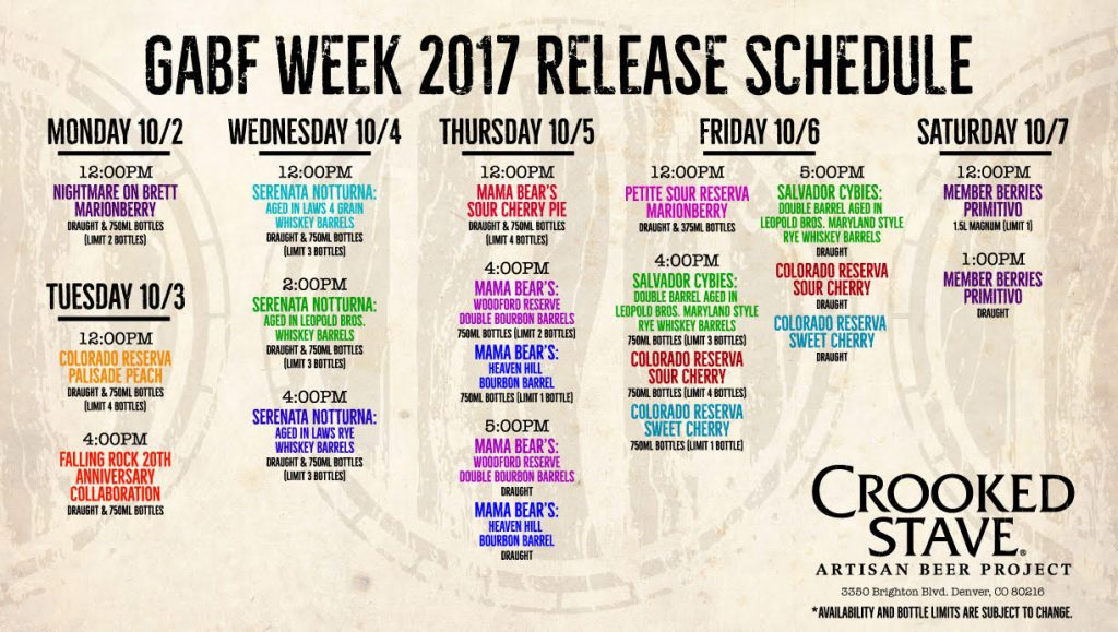 Crooked Stave - GABF 2017 Release Schedule